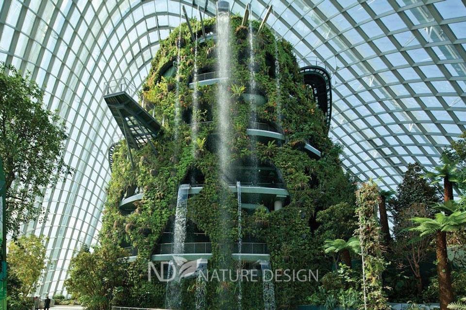 Облачный лес с водопадом в Сингапуре фото